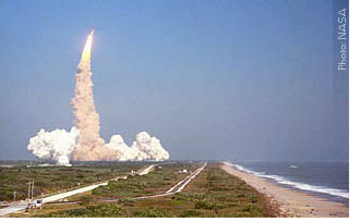 Launch view from just south of Kennedy Space Center, beach side